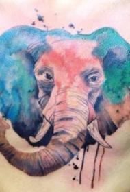 彩色水墨大象胸部纹身图案