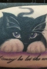 可爱顽皮的黑猫字母纹身图案