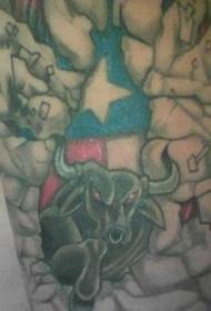 德克萨斯州的标志和公牛纹身图案