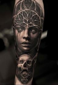 小臂点刺风格黑色令人毛骨悚然女人骷髅纹身图案