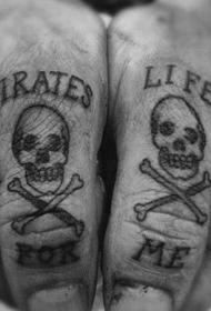 手指黑色海盗骷髅与交叉骨头字母纹身图案