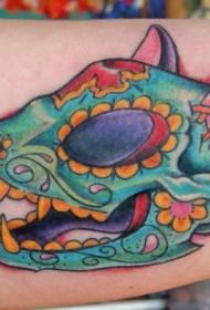 墨西哥风格彩色猫头骨花朵大臂纹身图案