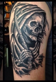 大臂黑色线条死神纹身图案
