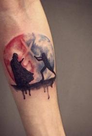 手臂彩色星战主题战斗纹身图案