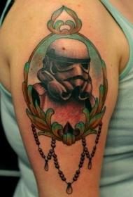 肩部彩色有趣风暴骑兵肖像纹身