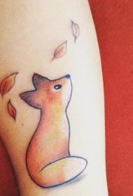 手臂简单的自制像彩色小狐狸纹身图案