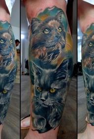 小腿插画风格的彩色猫纹身图案