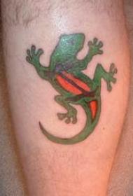 腿部彩色卡通蜥蜴纹身图案