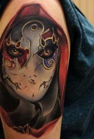 大臂华丽彩绘神秘蒙面人纹身图案