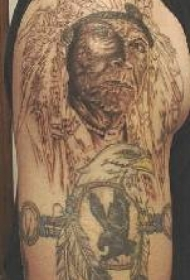 老印第安人酋长与鹰纹身图案