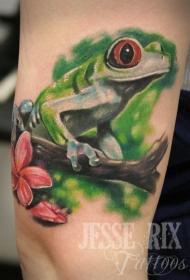 腿部彩色逼真的青蛙纹身图案