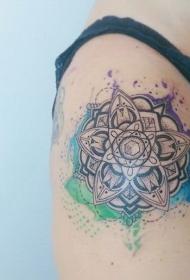 肩部点画风格彩色图谱花纹身图案