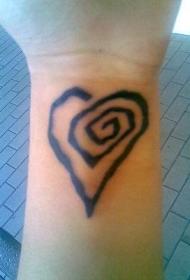 手腕个性心脏螺旋纹身图片