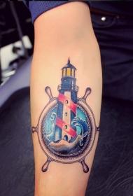 手臂漂亮的彩色船舵灯塔纹身图案