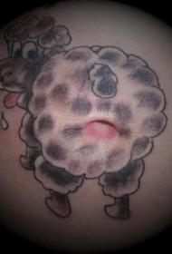 腹部彩色卡通羊屁股纹身图案