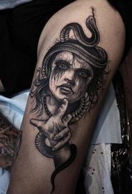 大腿蛇和女巫纹身图案