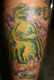 男性腿部彩色哥斯拉纹身图案