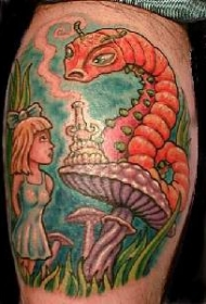 卡通爱丽丝梦游仙境纹身图案