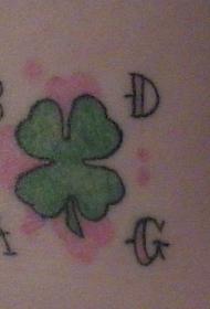 手臂彩色四叶草字母纹身图案