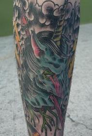 腿部邪恶的僵尸独角兽纹身图案