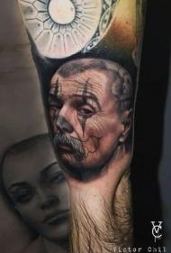 彩色现实主义风格胡子男人肖像纹身图案