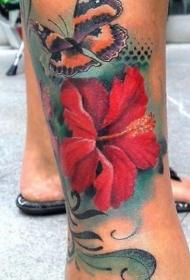 腿部彩色热带木槿花纹身图案