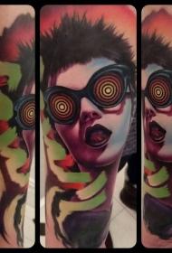 new school彩色个性眼镜女性肖像纹身图案