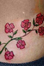 女性腰部彩色樱花花朵纹身图片