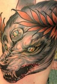 彩色邪恶狼与血腥的嘴纹身图案