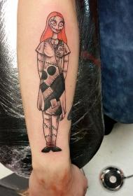 手臂简单的彩色圣诞女怪物纹身图案