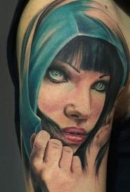 肩部写实彩色女郎纹身图案