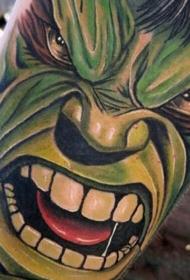 漫画风格彩色愤怒的绿巨人纹身图案
