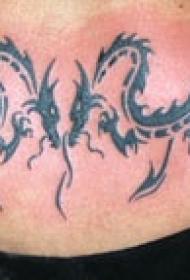 背部两个龙部落图腾纹身图案