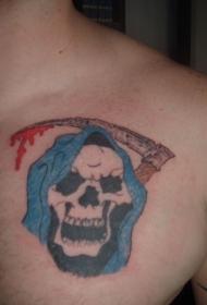 胸部带刀的死神纹身图案