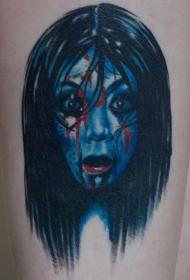 肩部彩色性感美女与蛋糕纹身图案