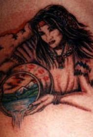 肩部神话的印度女孩与篮子纹身