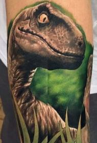 插画式彩色恐龙纹身图案