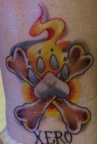 狗爪和交叉的骨头纪念纹身图案