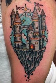 大臂小小的五彩梦幻城堡纹身图案