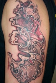 女鬼恶魔和阴霾纹身图案