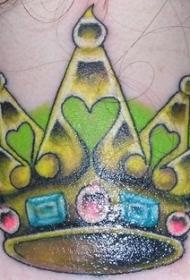 带有宝石的绿色光冠纹身图案