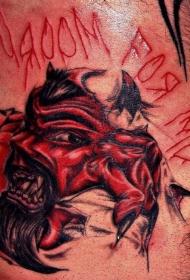 血腥的红色恶魔皮肤撕裂纹身图案