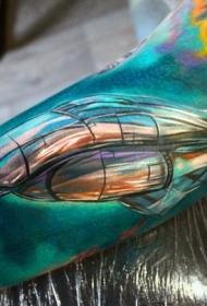大臂超现实鲜艳色彩飞船纹身图案