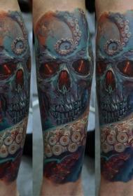 手臂彩色逼真的章鱼骷髅纹身图案