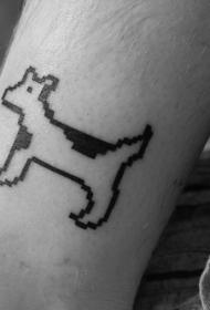小腿八位风格的狗纹身图案