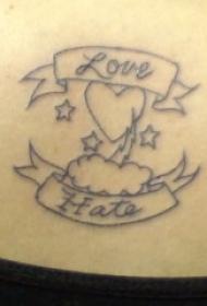腹部简约爱与恨与心纹身图案