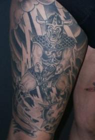 大腿在风暴终愤怒的兽人纹身图案