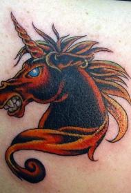 邪恶的红色独角兽纹身图案