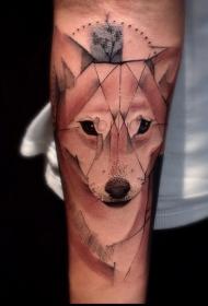 手臂几何风格的彩色狐狸头纹身图案