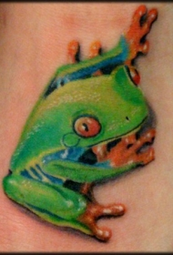 可爱的绿色青蛙纹身图案